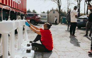 Good Samaritans Installing Hand Washing Sinks for the Homeless