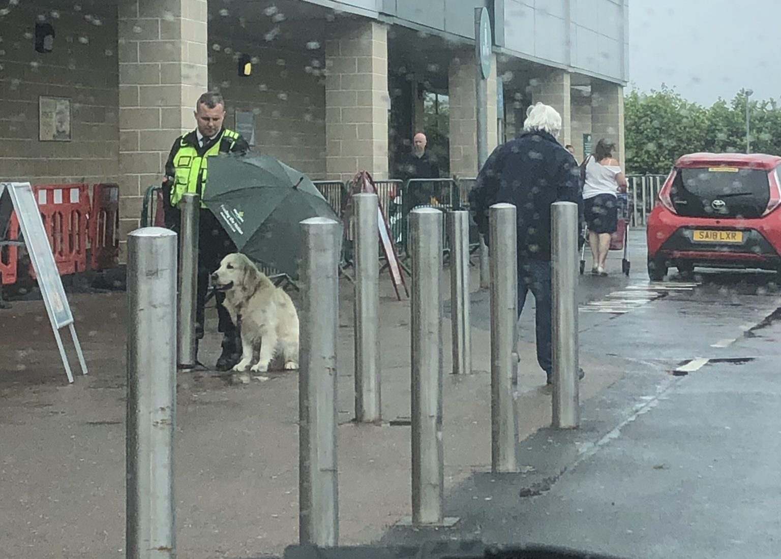 Good Samaritan Security Guard Shows Love to Canine During Rain Storm