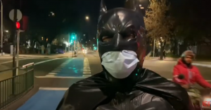 Batman Cooking and Delivering Hot Meals to Homeless in Santiago