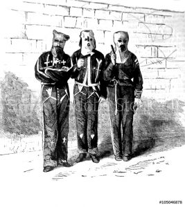 Ku Klux Klan members in disguises late 1800s